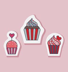 saint valentine day muffin stickers in lineart vector image