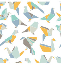 seamless pattern with colorful origami birds vector image