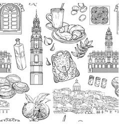 seamless pattern with portuguese landmarks vector image