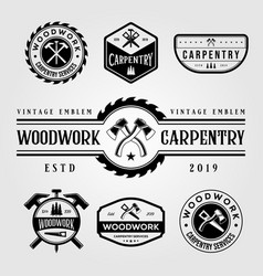 Set carpentry woodwork vintage logo craftsman vector