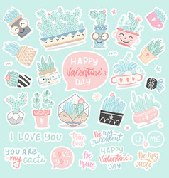 set hand drawn stickers cactuses and succulents vector image