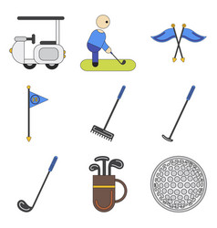 Set of icons in flat design golf equipments vector