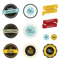 Set of vintage sale labels badges and stickers vector