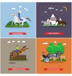 set wild and domestic horses flat design vector image
