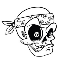 Skull wearing bandana black vector