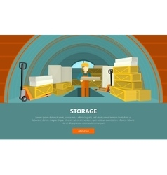 Storage Conceptual Web Banner in Flat Style vector image