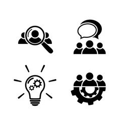 Teamwork icon set in flat style vector