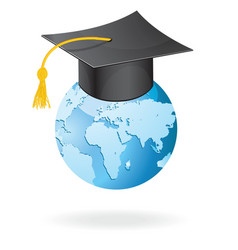 The graduation cap and globe icon vector