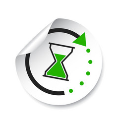 time sticker icon flat with hourglass on white vector image