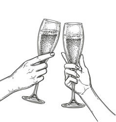 Two hands clinking glasses of champagne vector