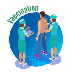 vaccine injection circle background vector image
