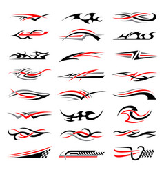 Vehicle stripes racing cars stylized flame vector