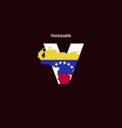 Venezuela initial letter country with map and vector