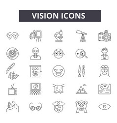 Vision line icons signs set linear vector