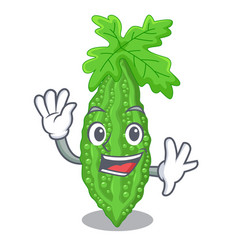 Waving bitter melon gourd on shape cartoon vector