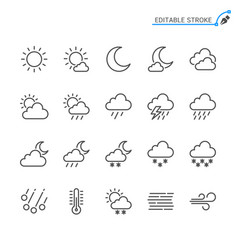weather line icons editable stroke vector image