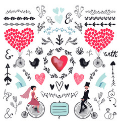 Wedding graphic set arrows hearts laurel vector