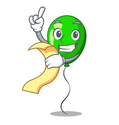 with menu green ballon with cartoon ribbons vector image