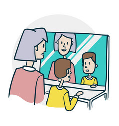 woman and a boy at a mirror practice their speech vector image
