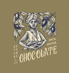 Woman harvested cocoa beans chocolate grains vector