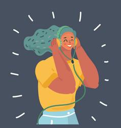 woman in earphones vector image
