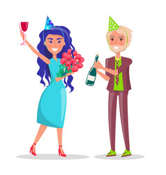woman in festive hat bouquet flowers cocktail vector image