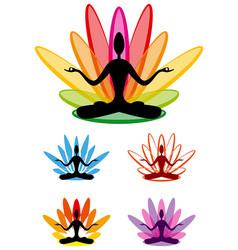 Yoga lotus emblem set vector