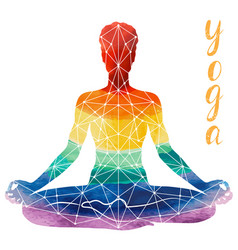 Yoga rainbow silhouette vector