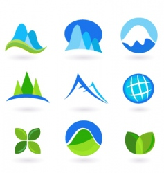 nature and mountains icon set vector image vector image