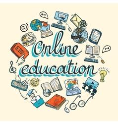 Online education icon sketch vector image vector image
