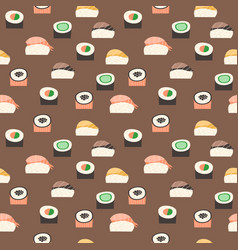 seamless pattern with different types of sushi vector image