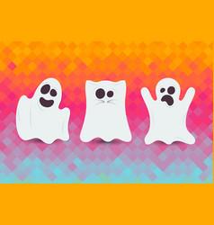 set of cute halloween ghost happy halloween card vector image vector image