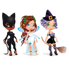 Cat fairy and witch vector
