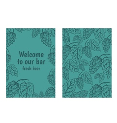 Hand drawn flyers with hops on background Retro vector image vector image