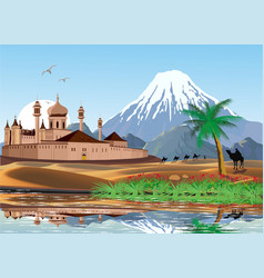 landscape - sunrise over the arab fortress vector image