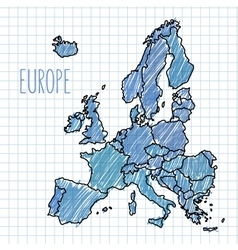 Pen hand drawn Europe map on paper vector image