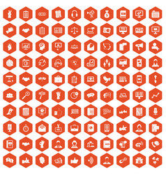 100 dialog icons hexagon orange vector