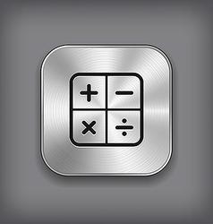 Calculator icon - metal app button vector image