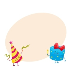 Cute funny smiling gift box and birthday hat vector image vector image