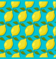 lemons on blue background seamless pattern vector image vector image