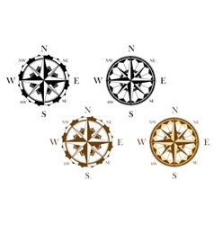 Set of antique compasses vector image vector image