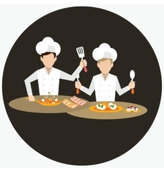 two chef working together prepare for the dish vector image