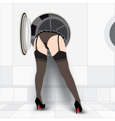 Washing machine and sexy woman vector image