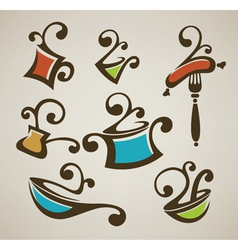 cooking equipment and food symbols vector image vector image