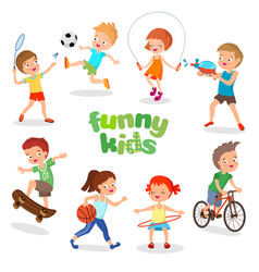 uniformed happy kids playing sports active vector image