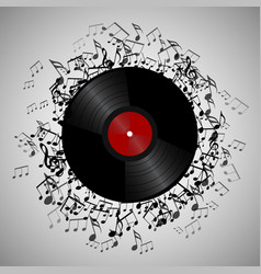Vinyl record with music notes vector