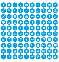 100 fruit party icons set blue vector