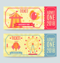 Amusement park tickets set vector