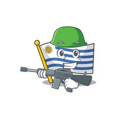 Army cartoon flag uruguay in with mascot vector