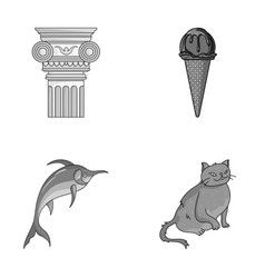 Art animal and other monochrome icon in cartoon vector